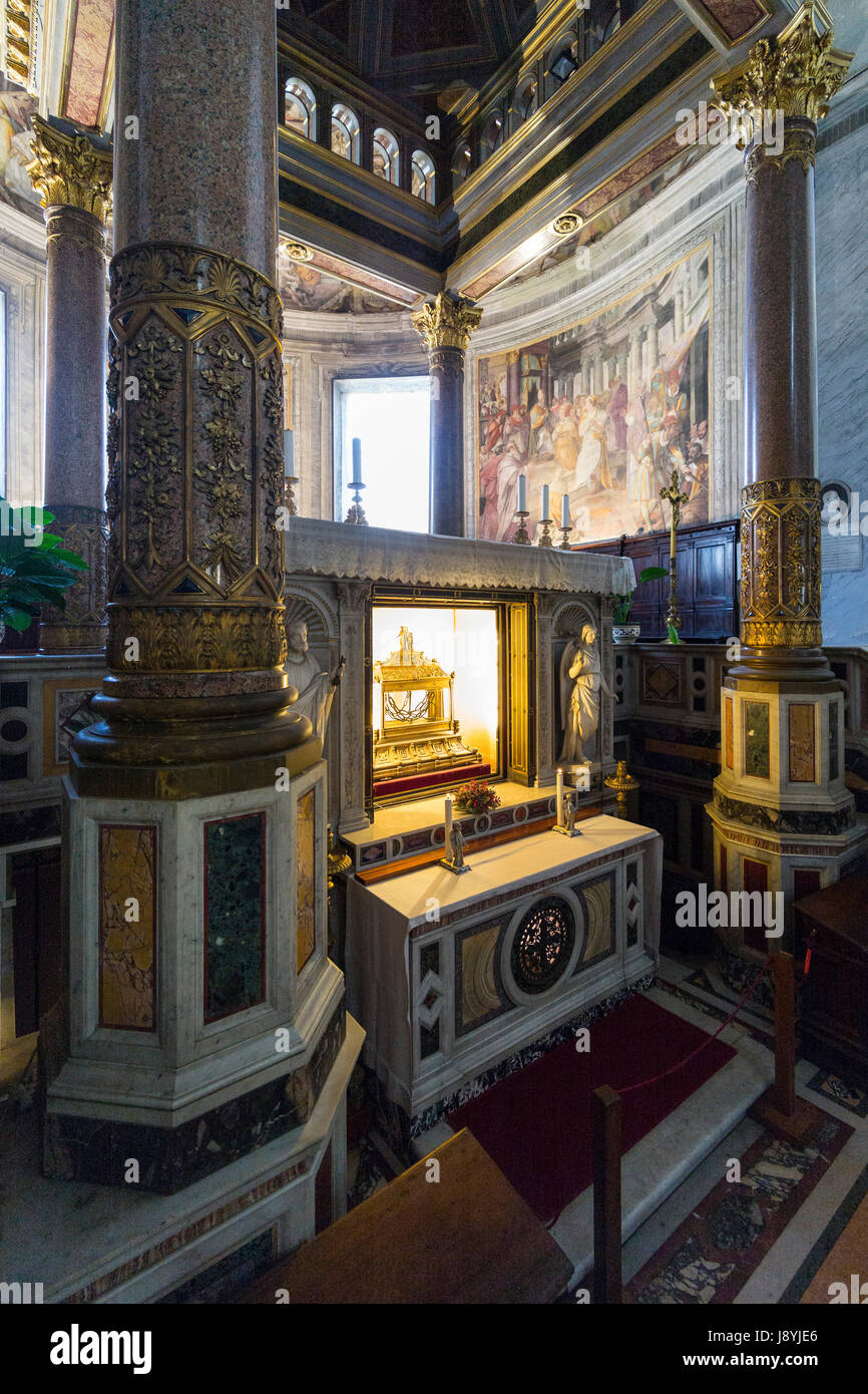 Rome. Italy. Basilica di San Pietro in Vincoli, reliquary containing the chains of St Peter beneath the main altar. - Stock Image