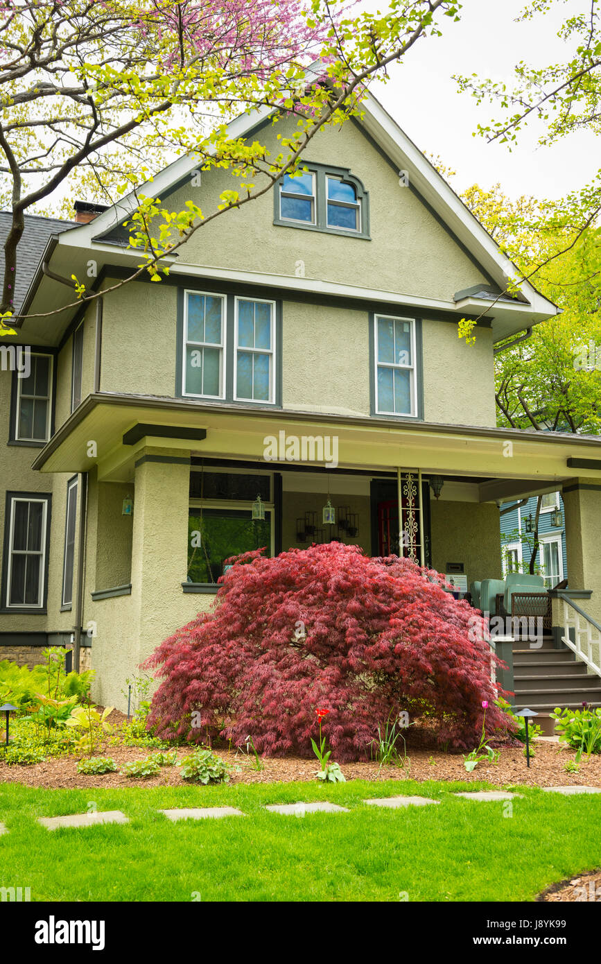 Chicago Illinois Oak Park 215 Forest Avenue era of Frank Lloyd Wright Architect 1867 to 1959 house home residence - Stock Image