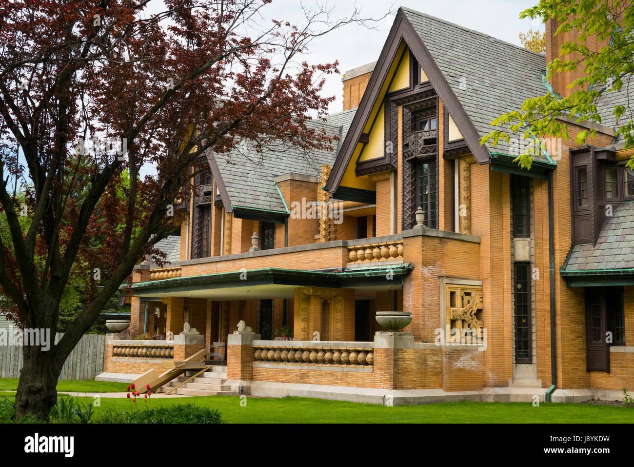 Chicago Illinois Oak Park 333 Forest Avenue Nathan G Moore House home residence Frank Lloyd Wright Architect 1867 - Stock Image