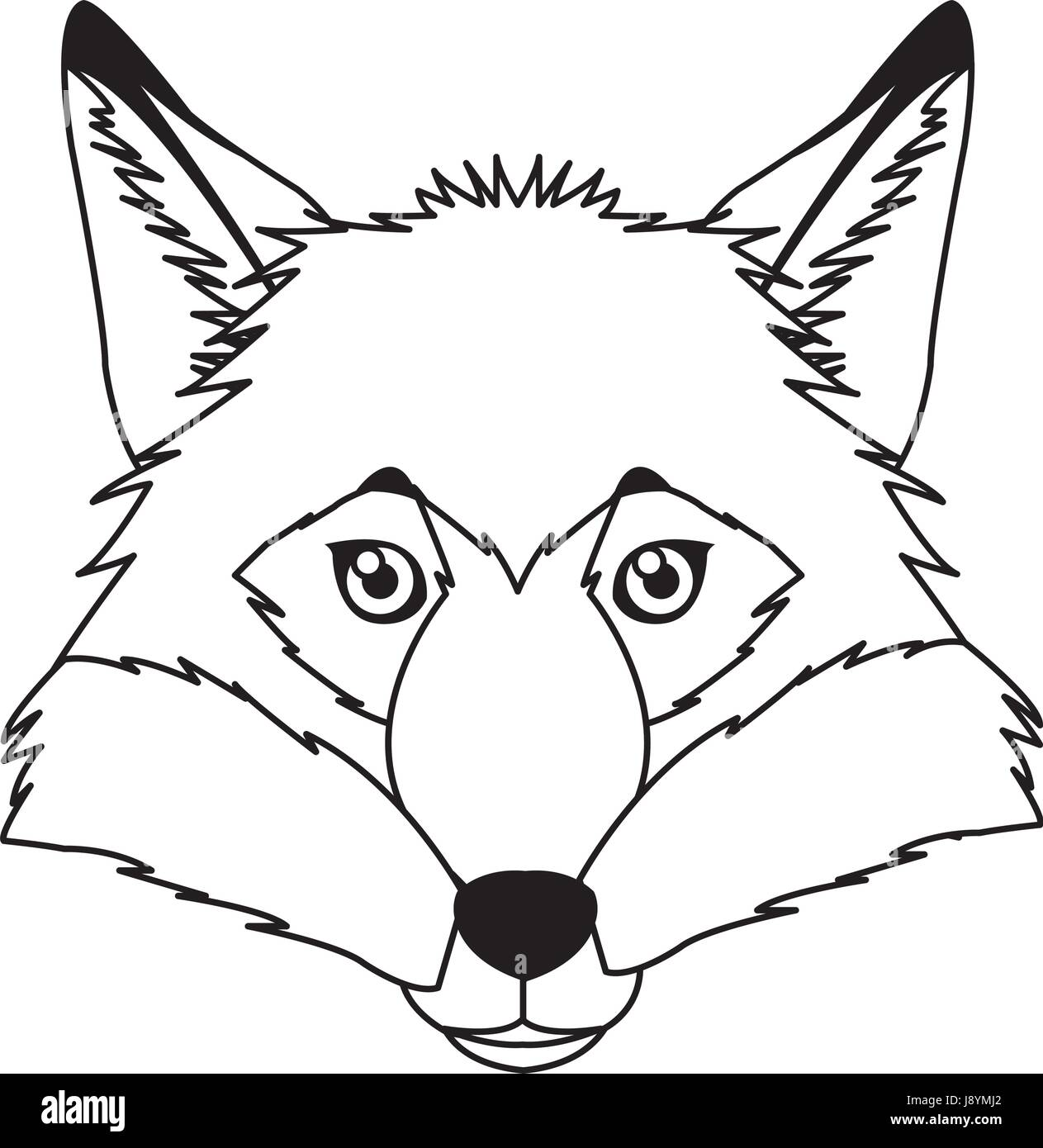 Fox vector mascot icon. Head and muzzle or snout of red or yellow fox animal with green eyes and fur. Isolated emblem - Stock Vector