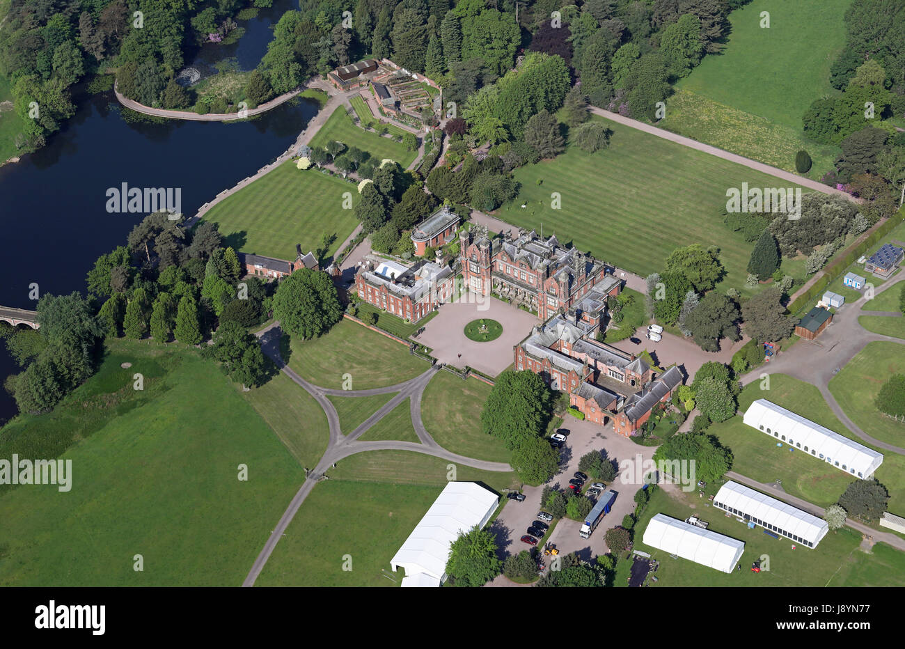 aerial view of Capesthorne Hall, Siddington, Cheshire, UK - Stock Image