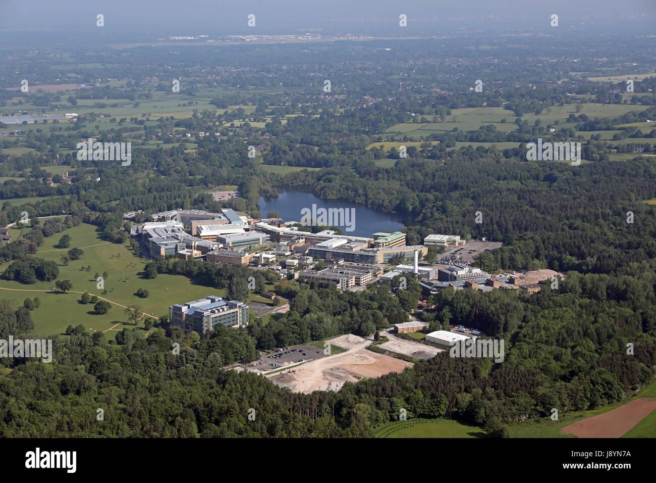 aerial view of Alderley Park in Cheshire, UK - Stock Image