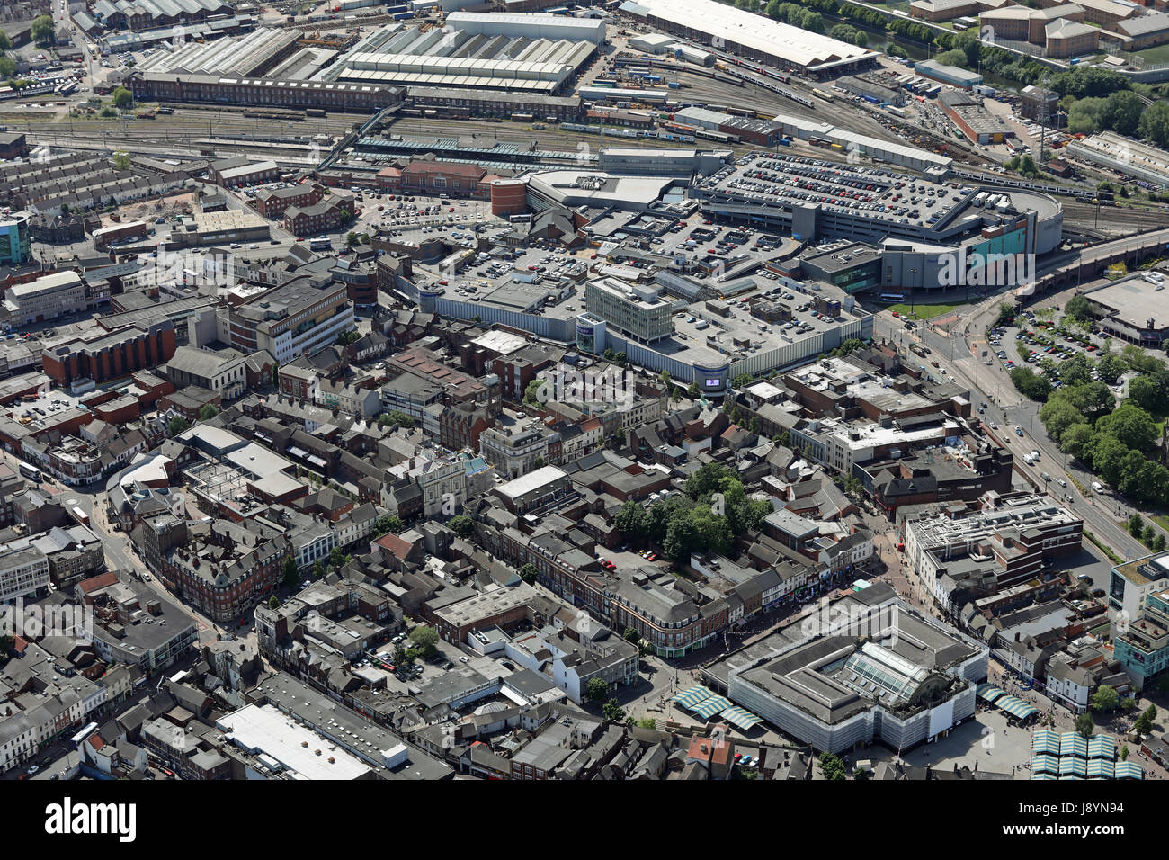 aerial view of Doncaster town centre, Yorkshire, UK Stock Photo