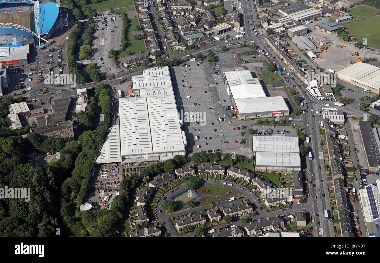 aerial view of the Colne Valley, Leeds Road, area of Huddersfield, Yorkshire, UK - Stock Image