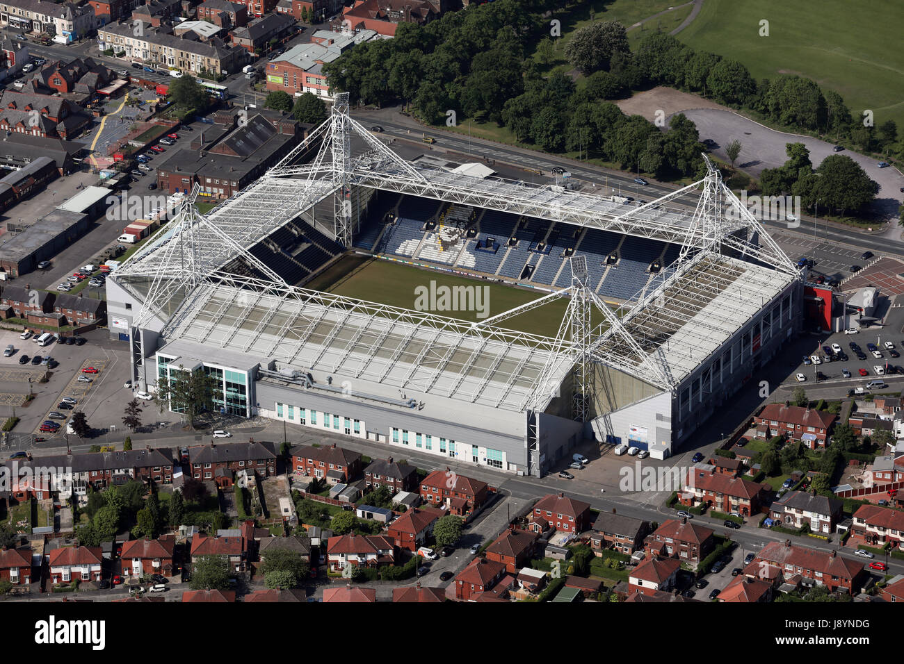 aerial view of Preston North End Deepdale stadium, UK - Stock Image