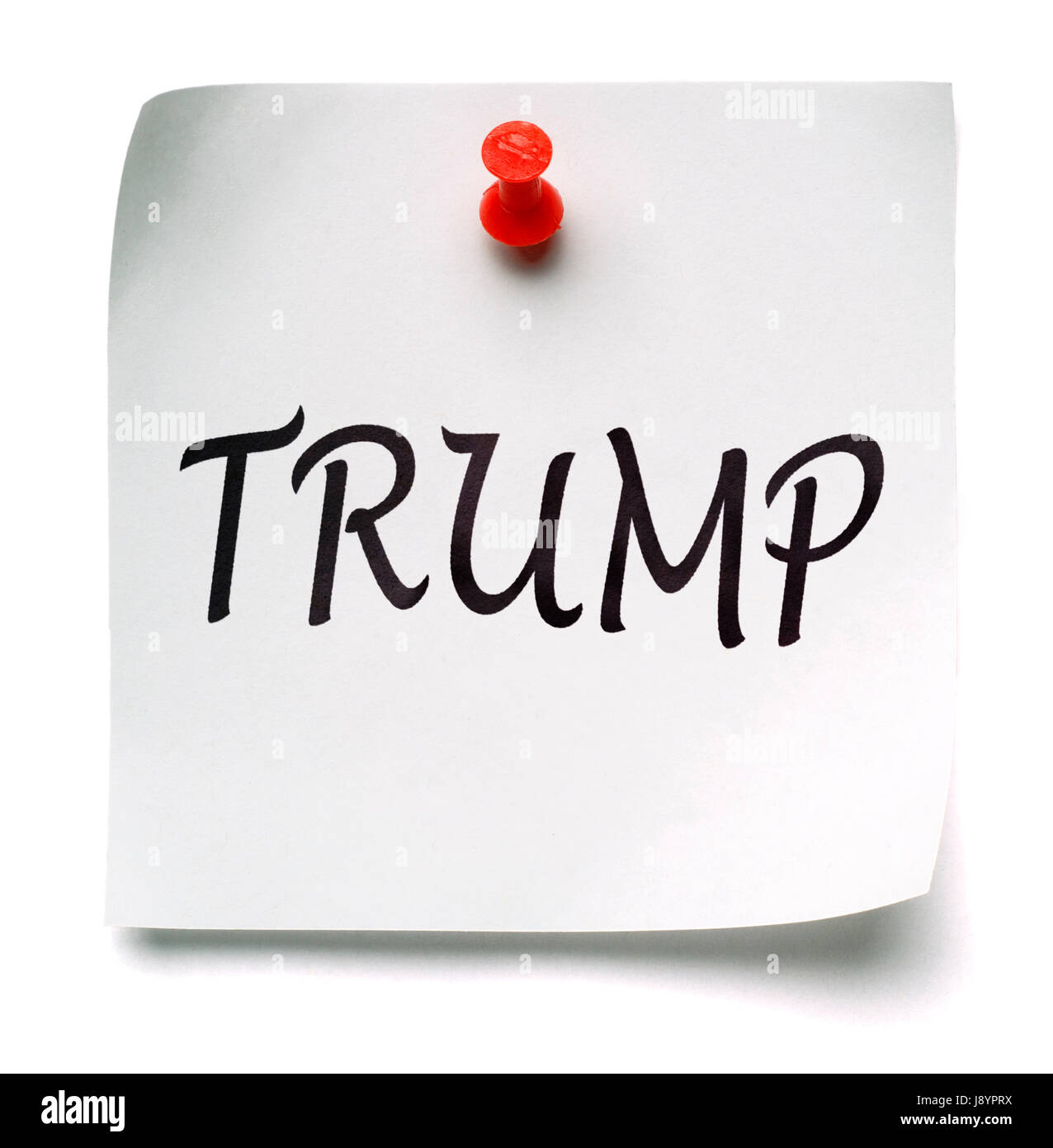 TRUMP! yellow post-it note, isolated on white - Stock Image