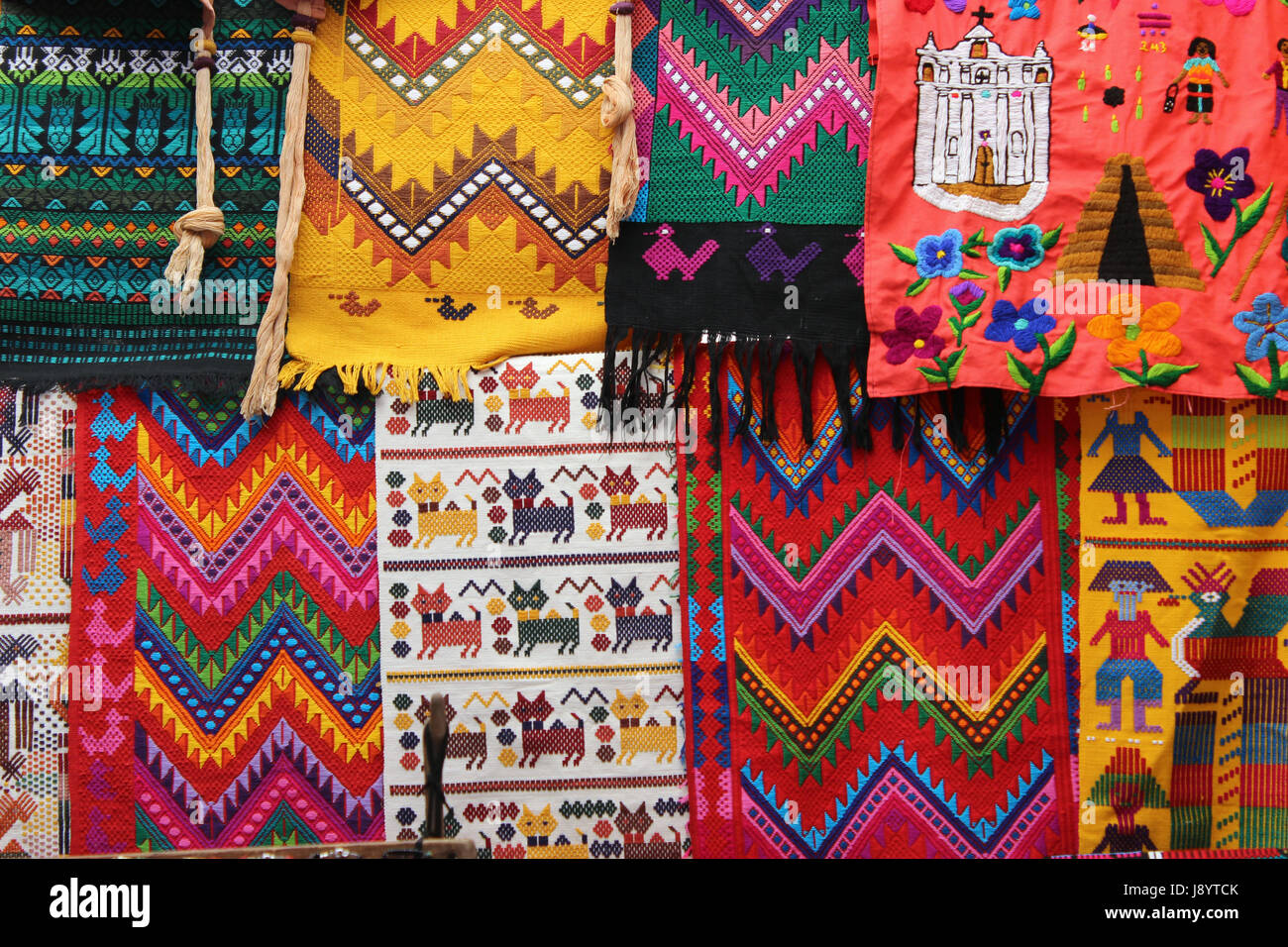 Textiles typical of Guatemala, handmade by Guatemalan craftsmen, Of daily use in the Mayan community - Stock Image