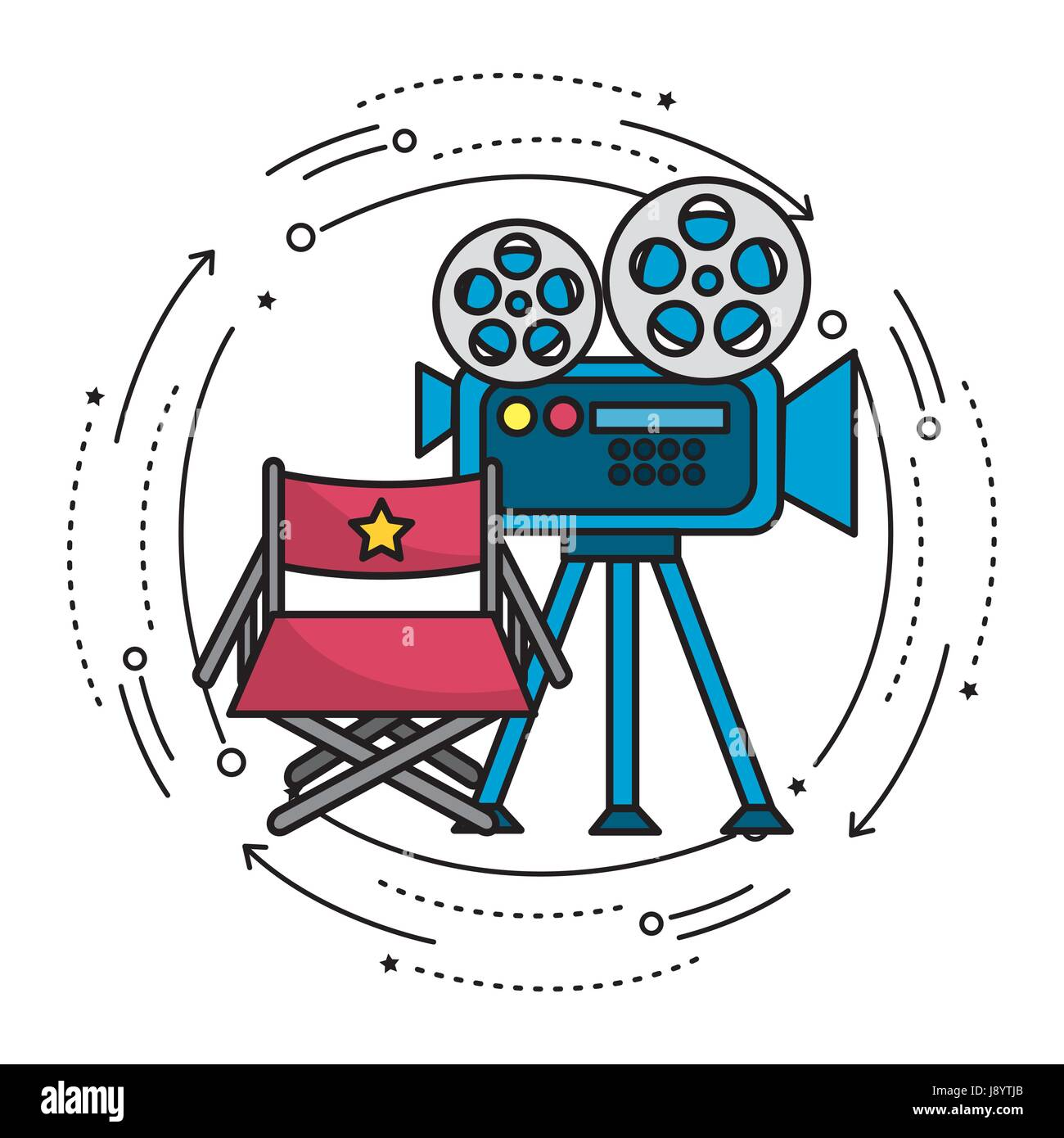 movie camera with reel scene and director seat stock