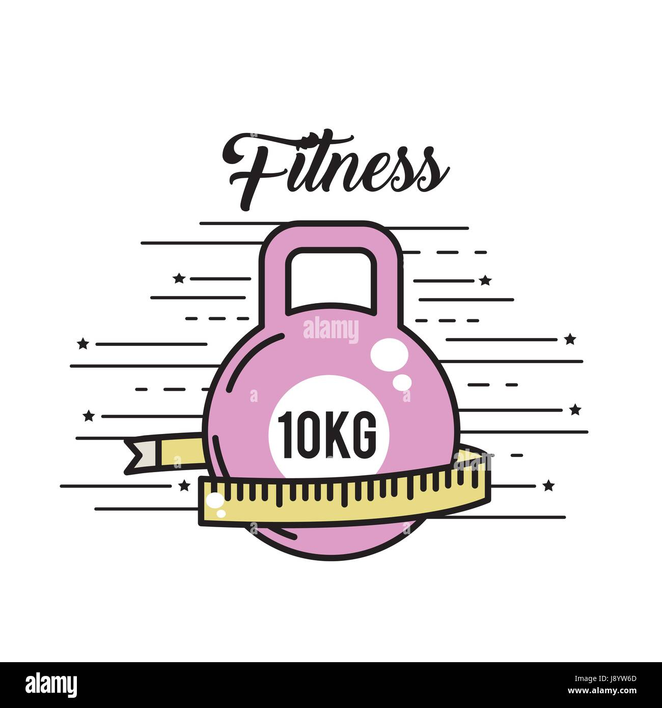 dumbbell with meter to healthy lifestyle - Stock Image