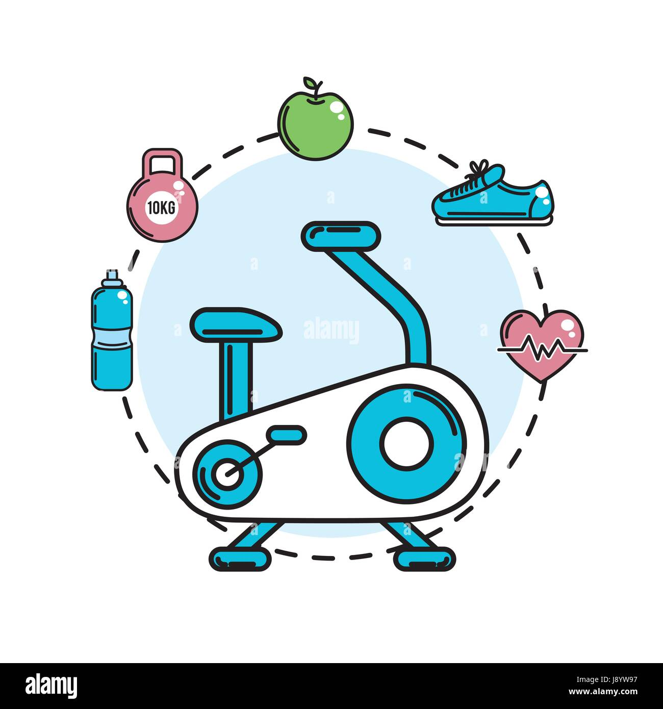 exercise mashine with healthy tolls icons - Stock Vector