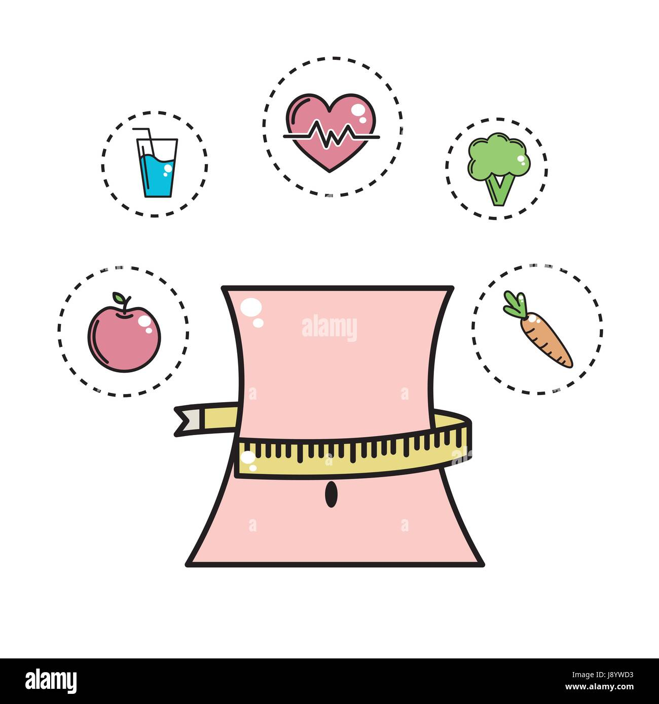 weist with meter and healthy tools icons - Stock Image