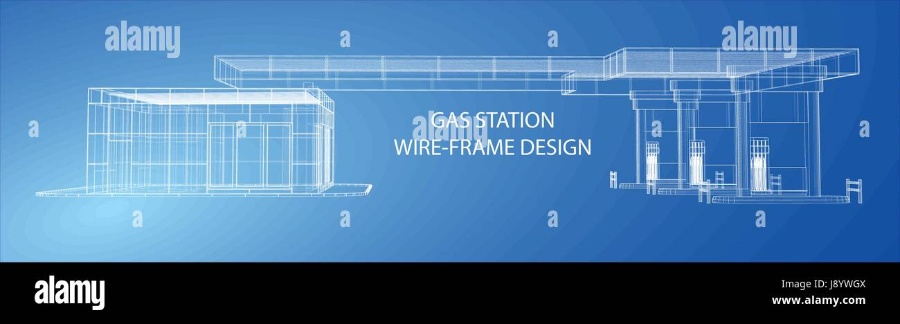 gas station  wire frame vector illustration
