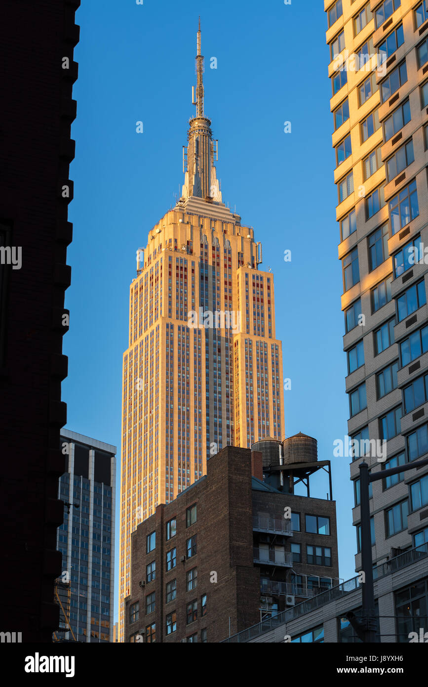 The Empire State Building at sunset. New York City Stock Photo