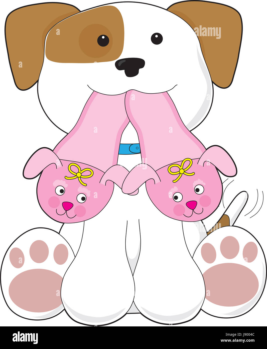 playful, puppy, slippers, maddening, pert, coquettish, cute, friend, home, - Stock Image