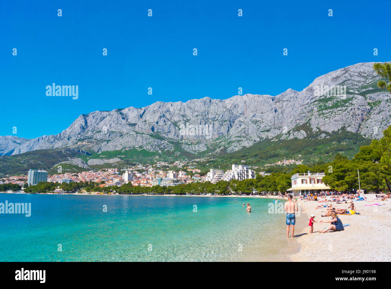 Plaza Donja Luka, the main beach, Makarska, Dalmatia, Croatia - Stock Image