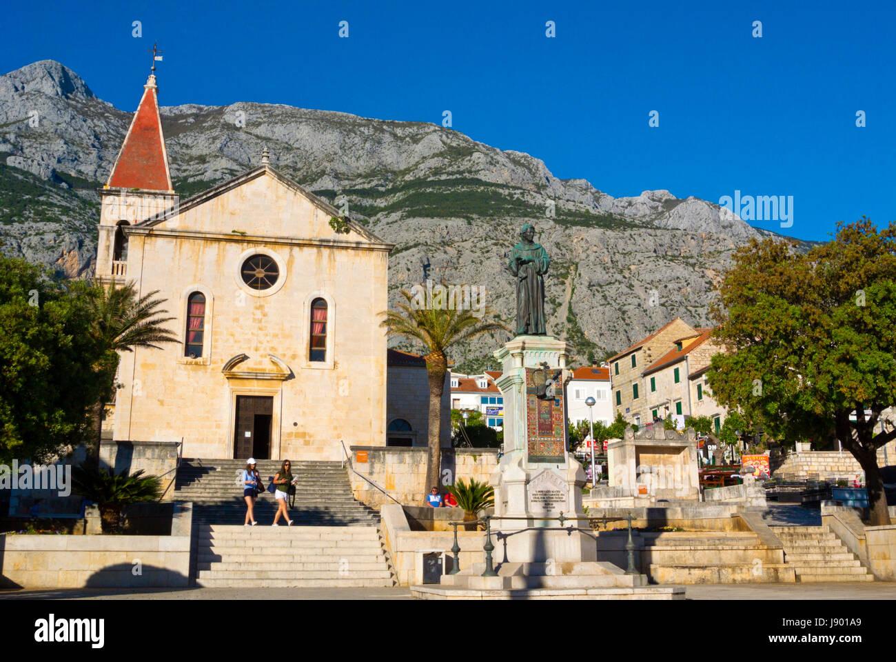 Kačićev trg, main square, Makarska, Dalmatia, Croatia Stock Photo