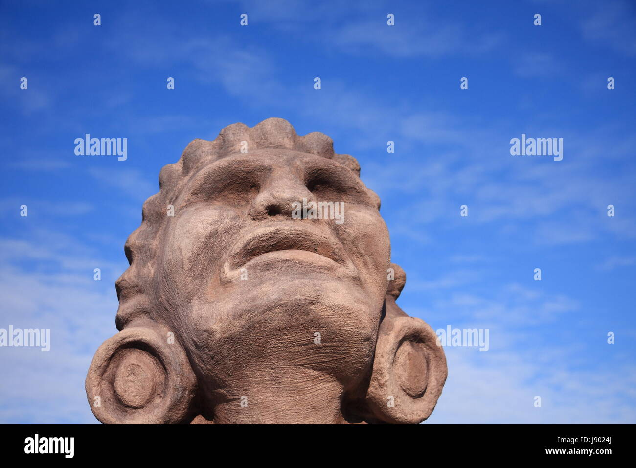 blue, god, portrait, design, shaping, formation, shape, model, figure, aztec, - Stock Image