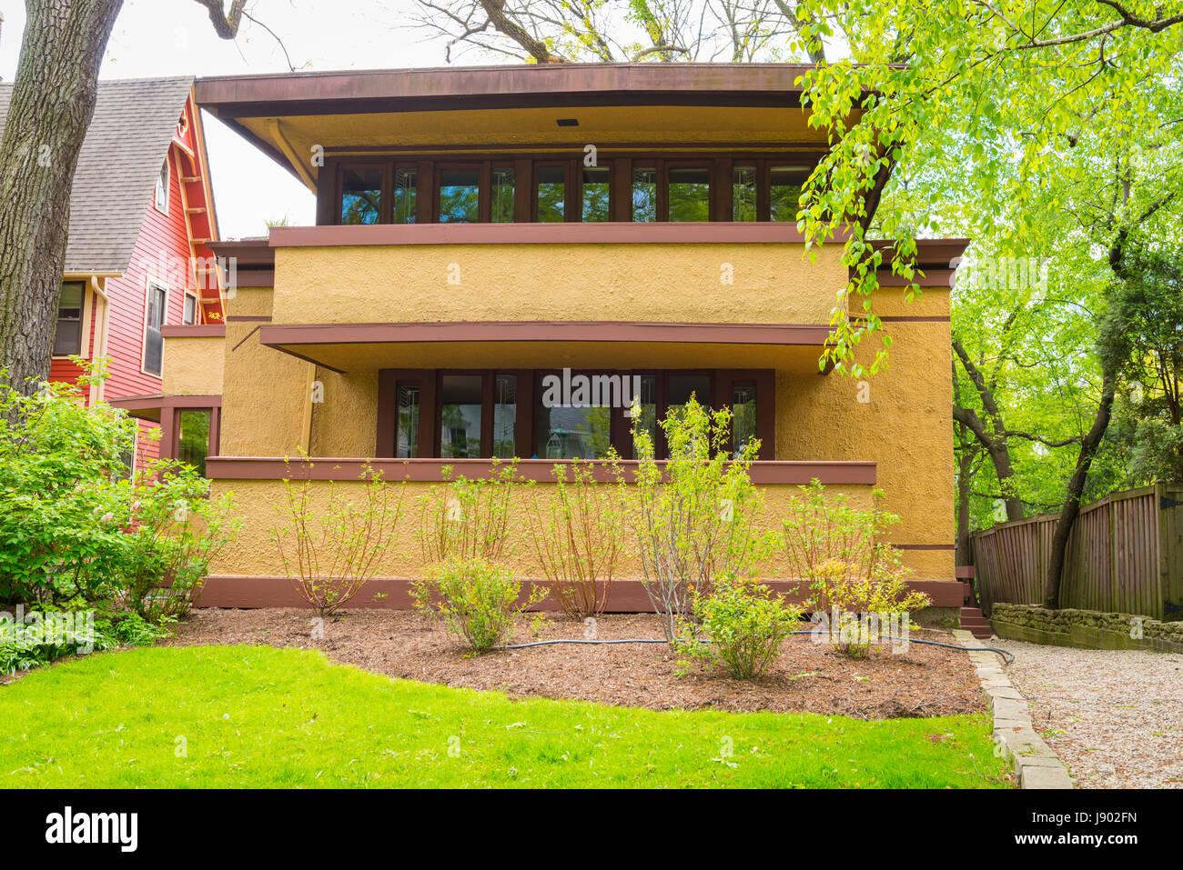 Chicago Illinois Oak Park 6 Elizabeth Court by Frank Lloyd Wright Architect 1867 to 1959 Laura Gale House home residence - Stock Image