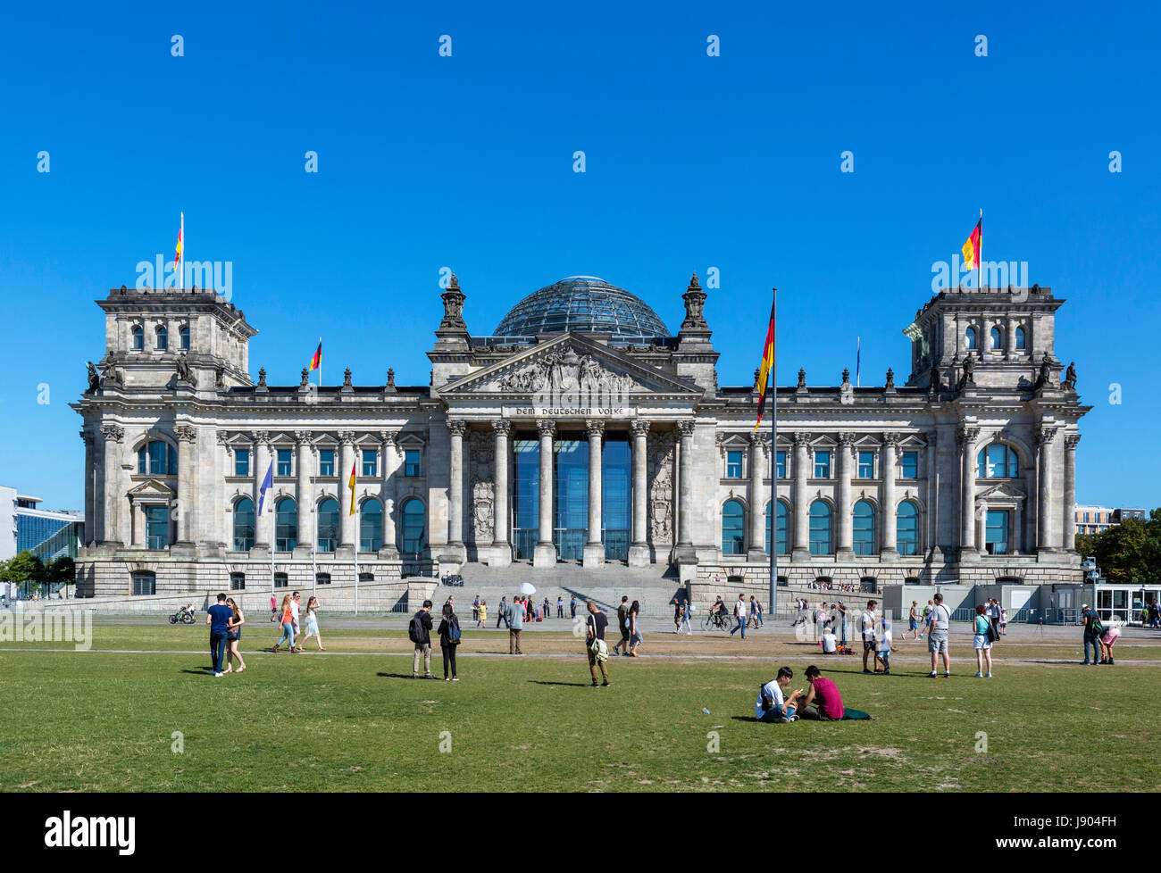 The Reichstag building from the edge of the Tiergarten, Mitte, Berlin, Germany Stock Photo