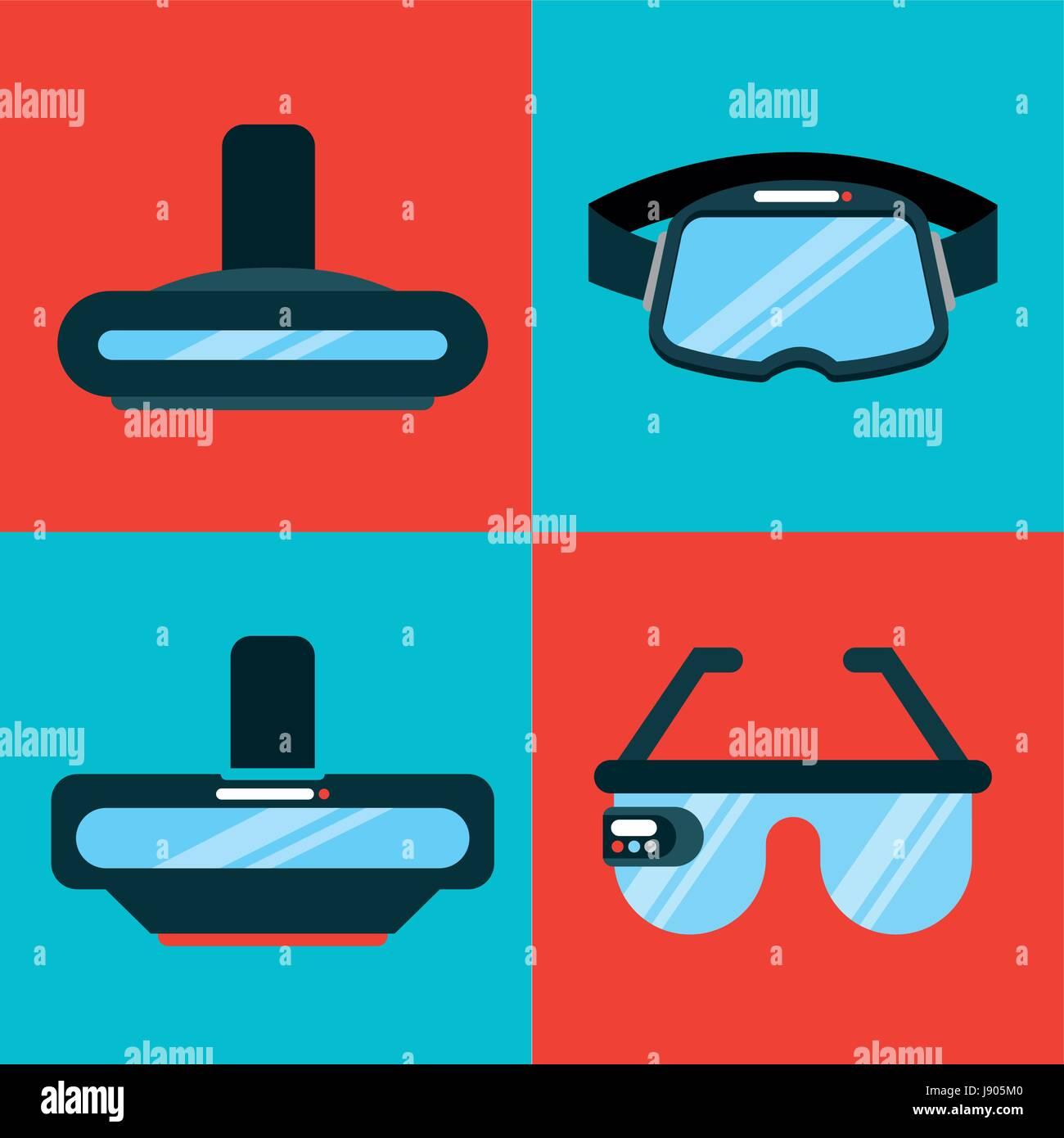 06486bdfe51 Set Icons Virtual Reality Stock Photos   Set Icons Virtual Reality ...