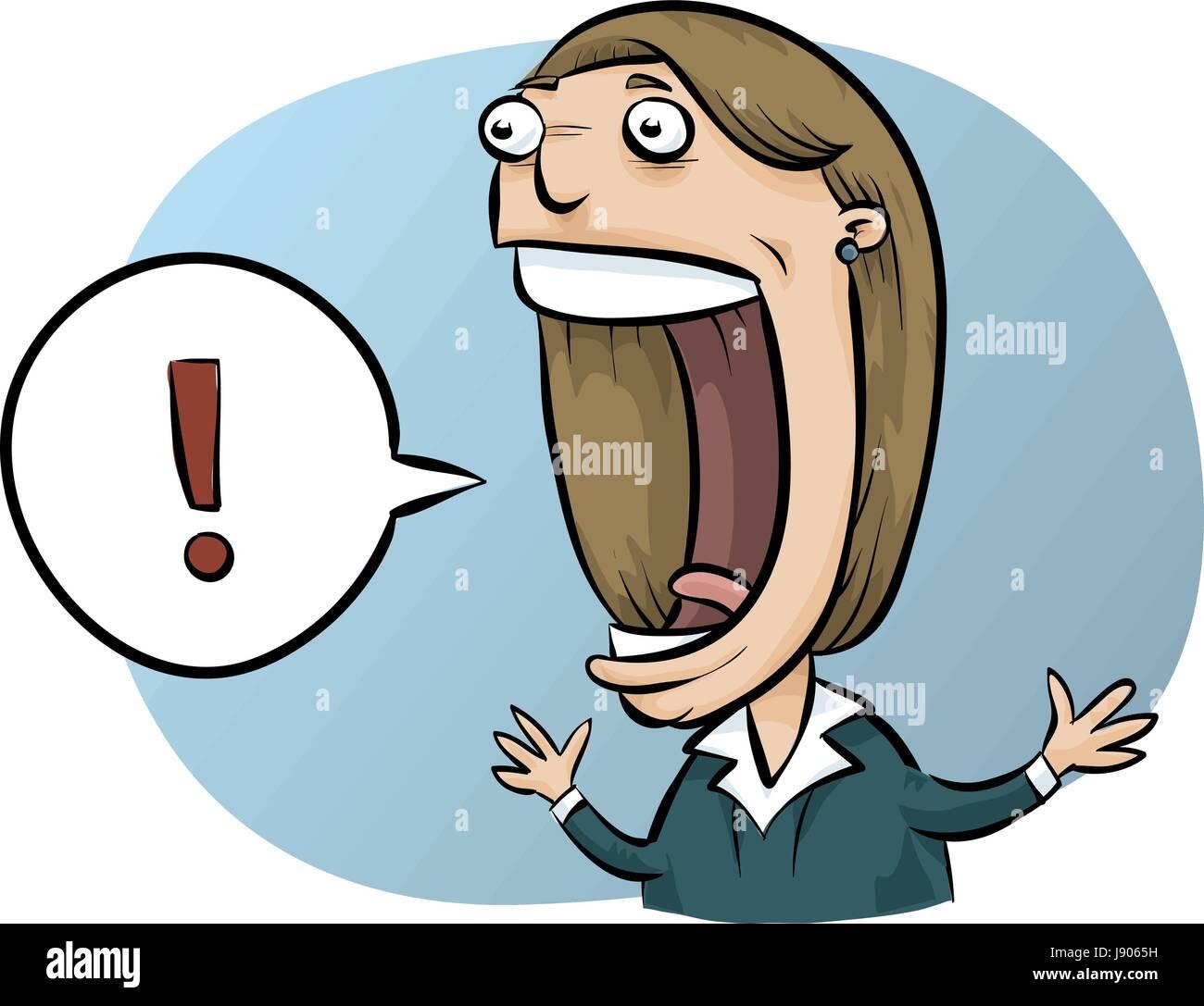 A cartoon businesswoman expresses excitement. - Stock Vector
