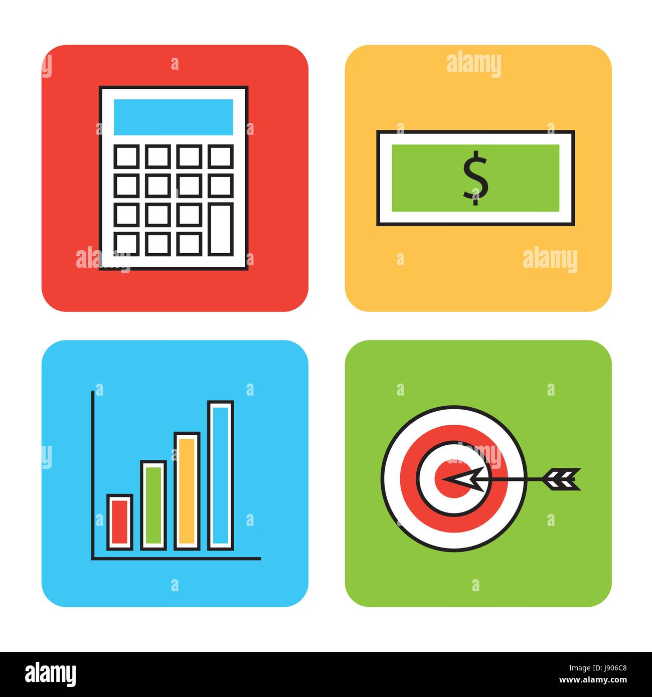 icons set analytic and investments - Stock Image