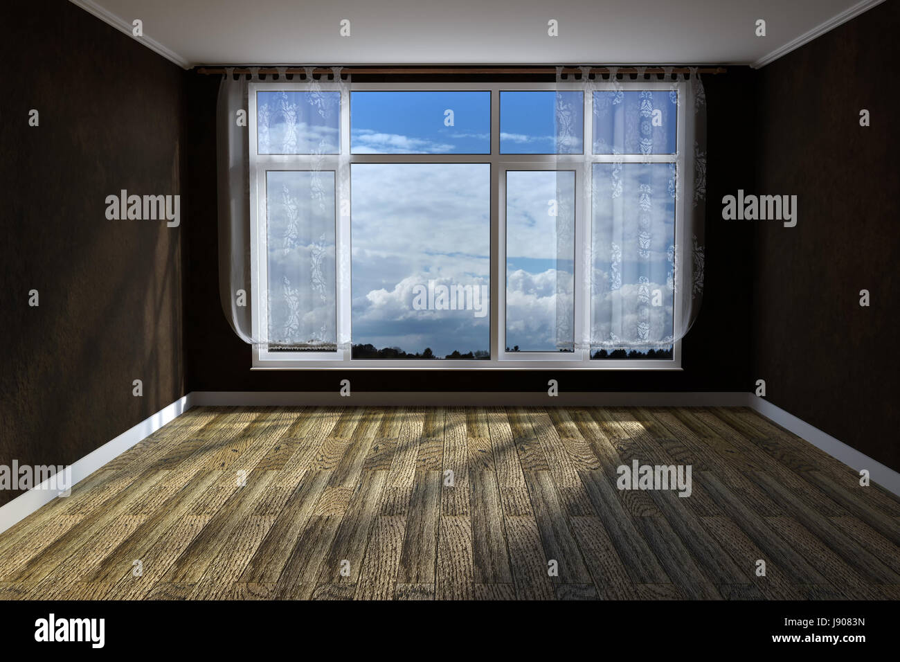 3d rendering of empty unfurnished livingroom with rustic wooden floor and grunge wall covering - Stock Image