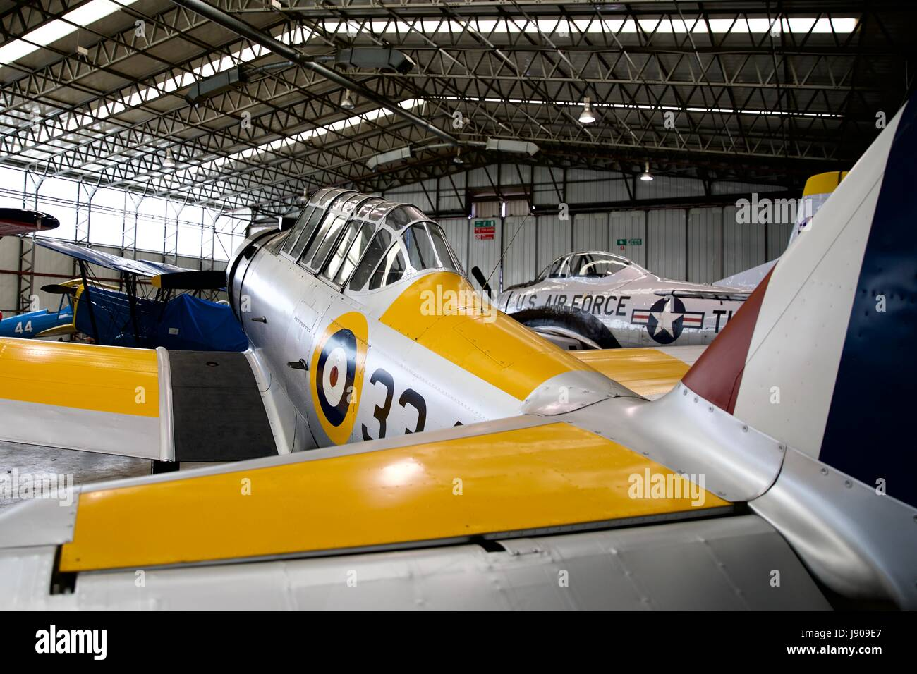 North American NA-64 Yale on display at the IWM Duxford - Stock Image