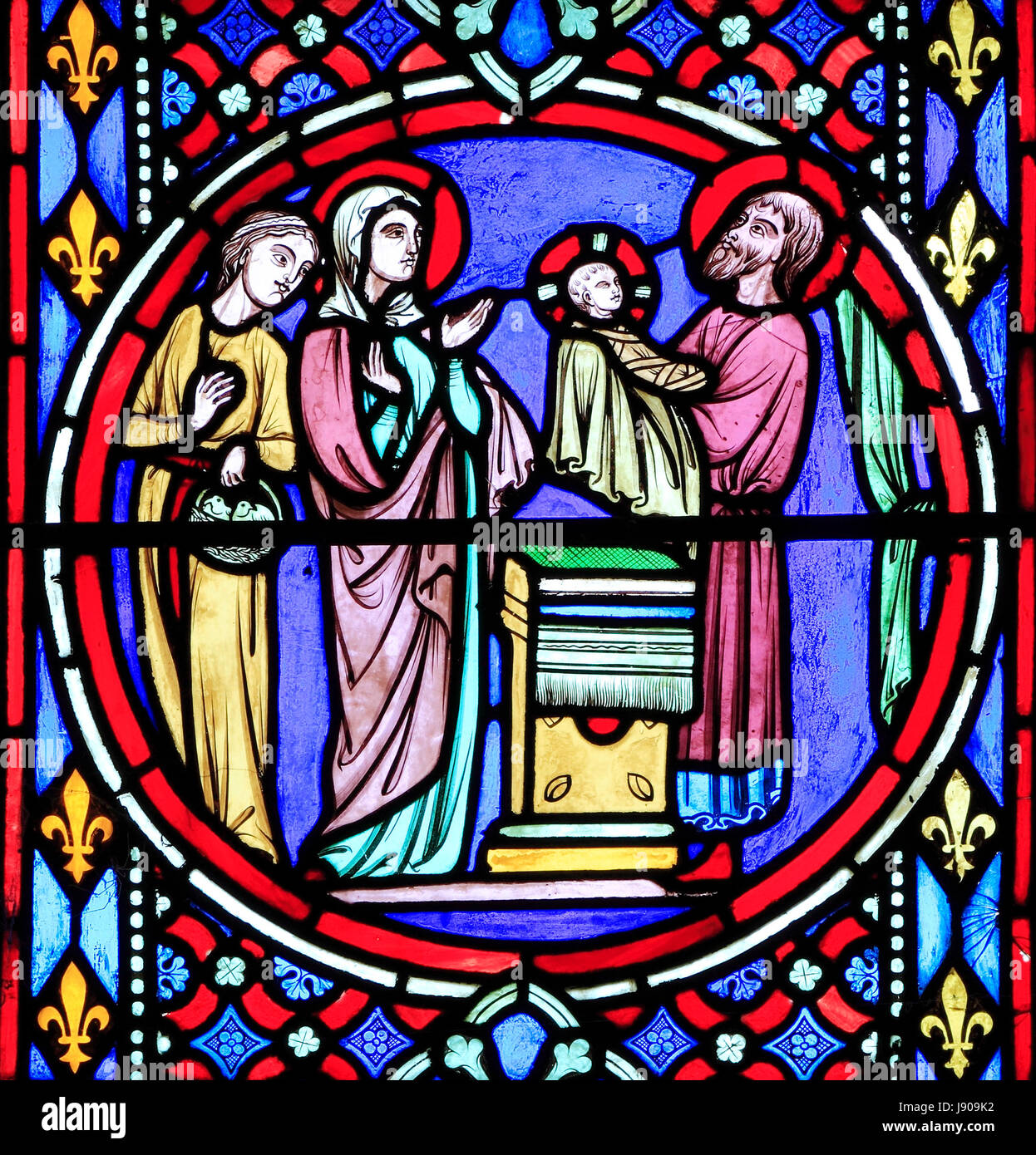 Nativity Window, stained glass by Oudinot of Paris, 1861, Feltwell Church, Norfolk, Presentation of the infant Jesus, - Stock Image