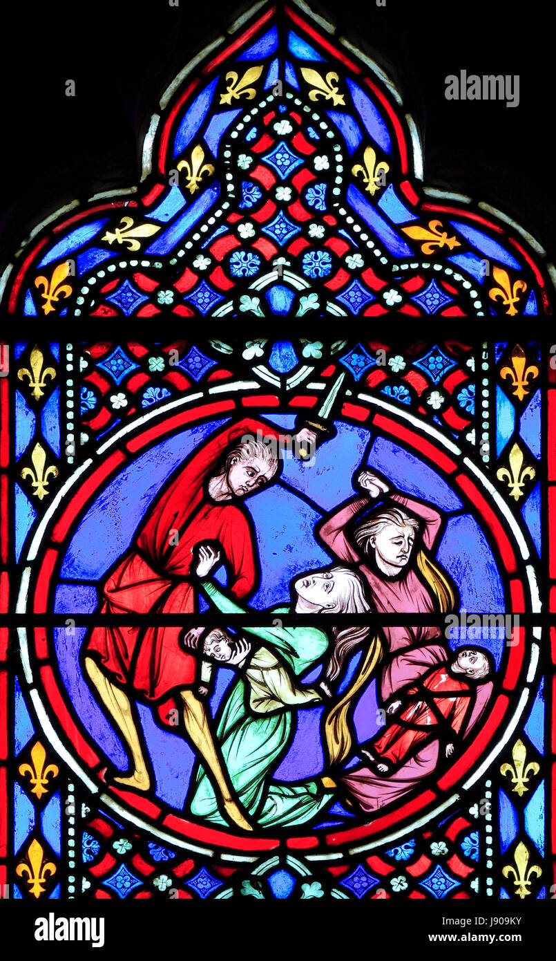 Nativity Window, stained glass by Oudinot of Paris, 1861, Feltwell Church, Norfolk, Slaughter of the Innocents, Stock Photo