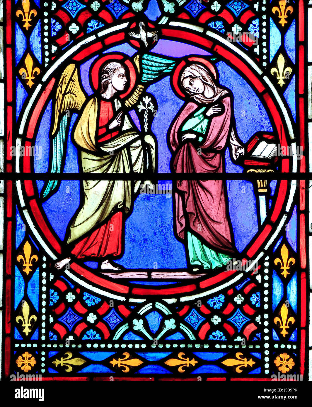 Nativity Window, stained glass by Oudinot of Paris, 1861, Feltwell Church, Norfolk, Annunciation by Archangel Gabriel - Stock Image
