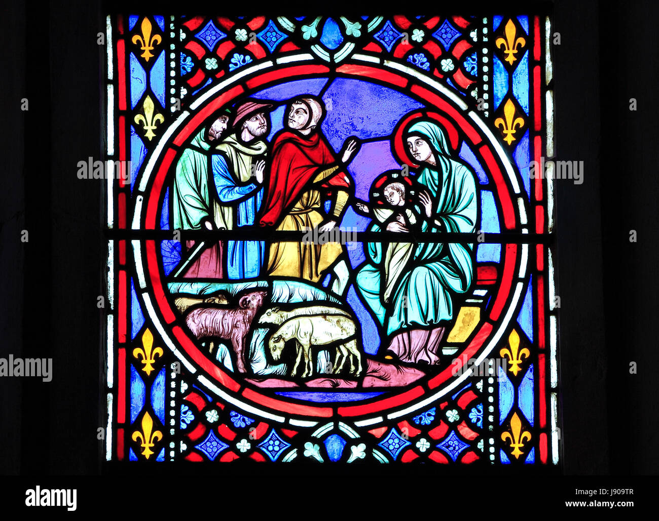 Nativity Window, stained glass by Oudinot of Paris, 1861, Feltwell Church, Norfolk, Shepherds visit the newborn - Stock Image
