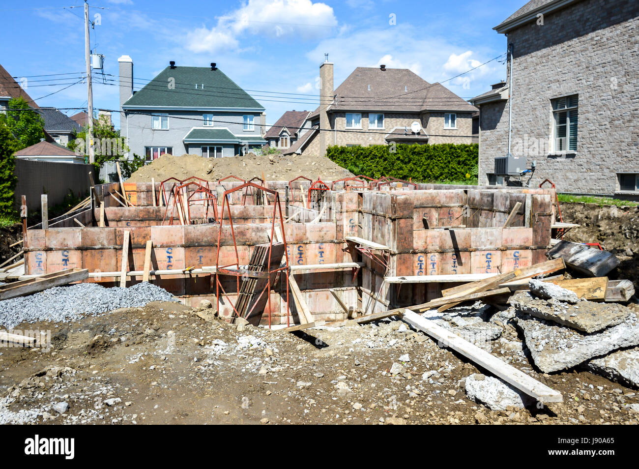 Montreal, Canada - May 27, 2017:The construction of an expensive house - Stock Image