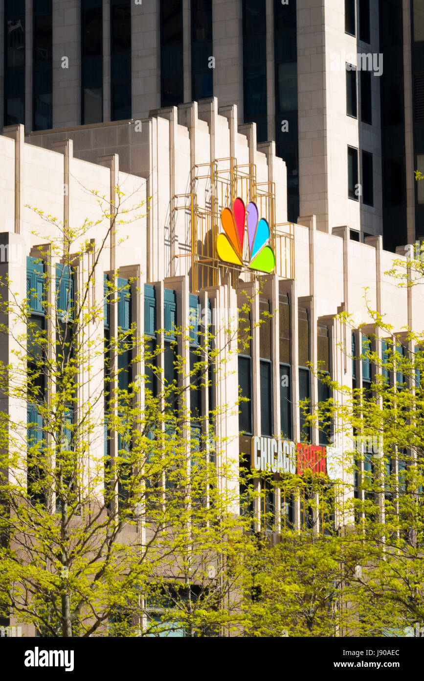 Chicago Illinois Near North Side entrance NBC Tower 454 North Cityfront Plaza Drive logo built 1989 37 storey 627 - Stock Image