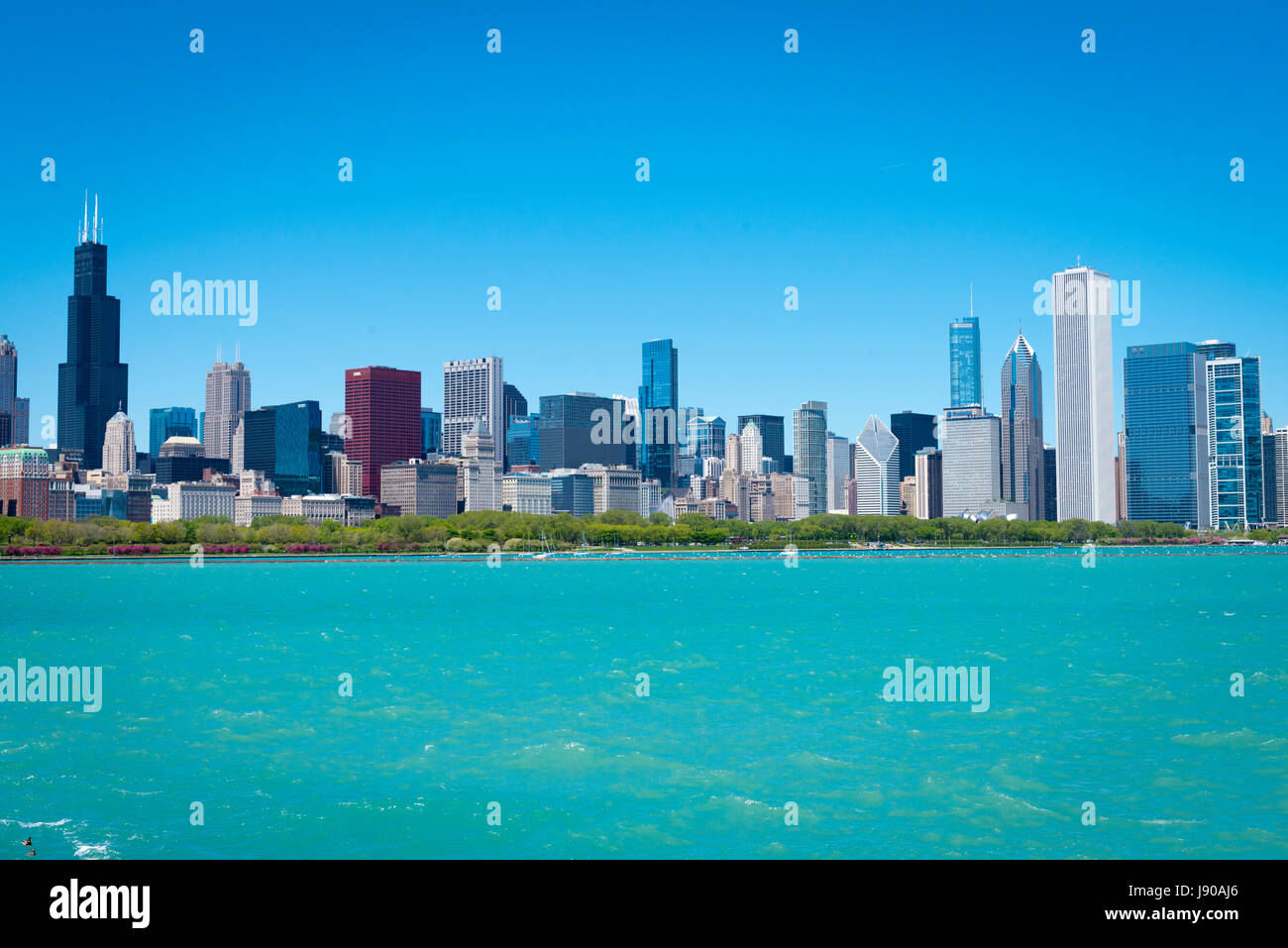 Chicago Illinois Near South Side East Solidarity Drive view panorama cityscape skyscrapers high-rise buildings Lake - Stock Image