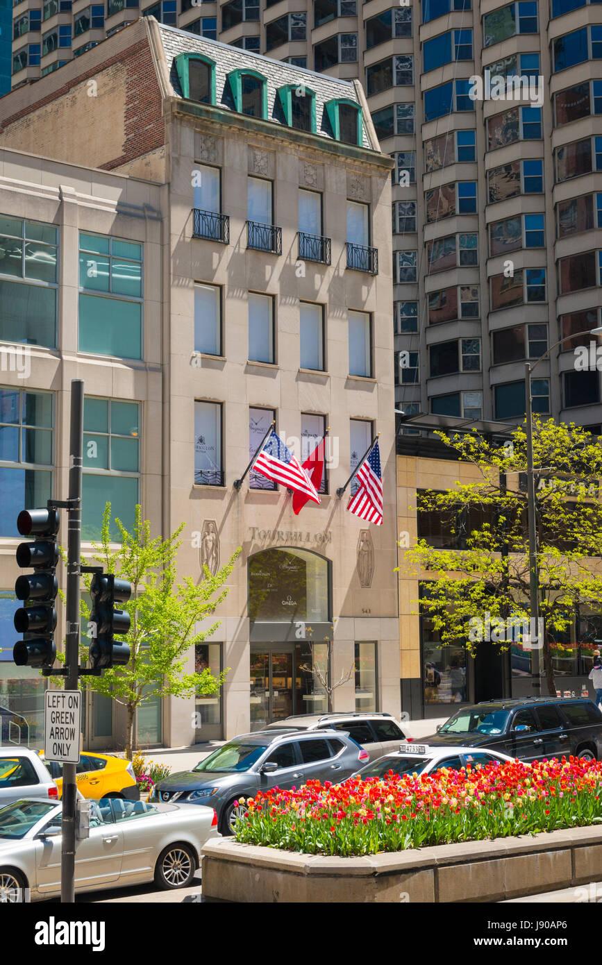 Chicago Illinois Near North Side Magnificent Mile Michigan Avenue Tourbillon luxury jewellery watch shop Breguet - Stock Image
