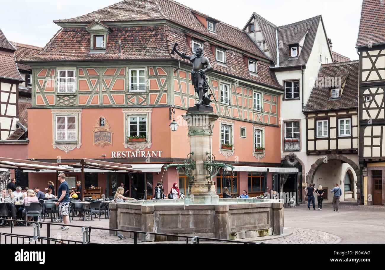 Schwendi Fountain, Colmar, France, designed in 1898 by Auguste Bartholdi - bronze statue of Lazare de Schwendi (1522 - Stock Image