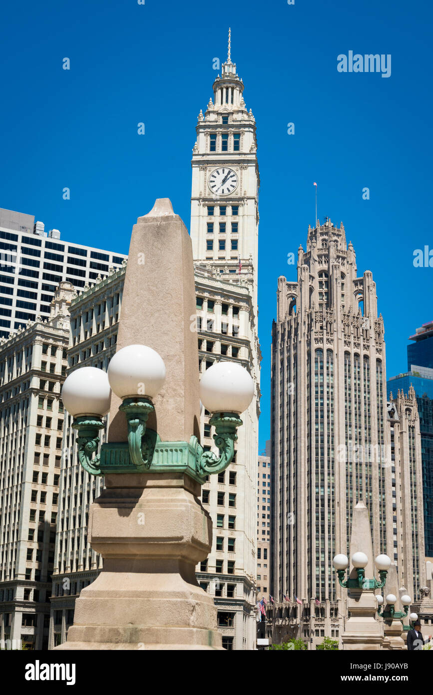 Chicago Illinois Near Side North Magnificent Mile Michigan Avenue Wrigley Building & Tribune Tower street lights - Stock Image