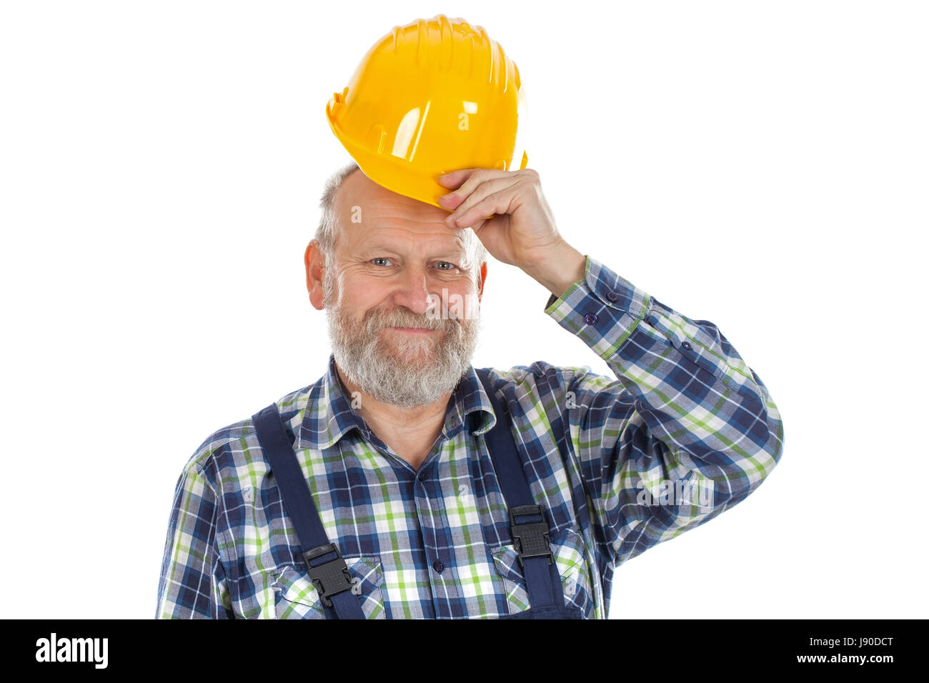 Picture of a smiling engineer - isolated background - Stock Image