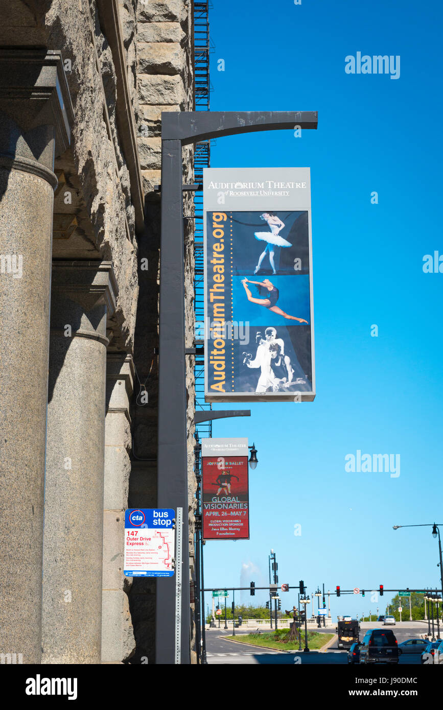 Chicago Illinois South Loop Wabash Avenue Auditorium Theatre Theater 147 bus stop poster posters - Stock Image