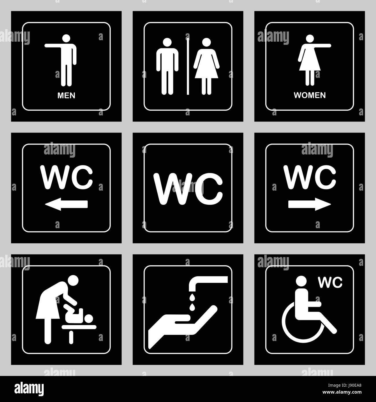 WC / Toilet door plate icons set. Men and women WC sign for restroom.  sc 1 st  Alamy & WC / Toilet door plate icons set. Men and women WC sign for restroom ...