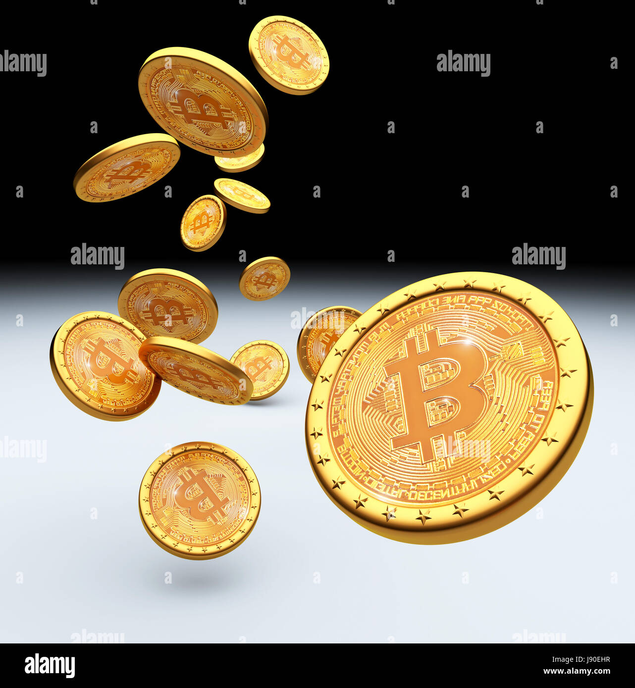 bitcoin golden coin 3d rendering image - Stock Image