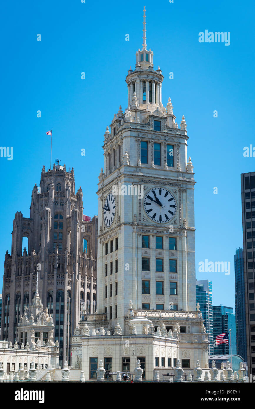 Chicago Illinois Wrigley Building skyscraper detail clock tower built 1920 to 1924 Architects Graham Anderson Probst - Stock Image