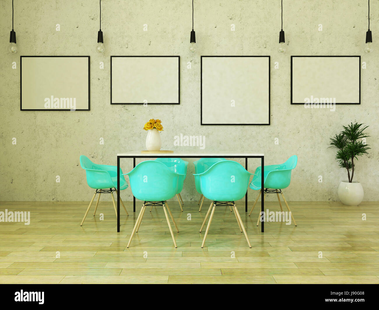 Beautiful dining table with turquoise chairs on wooden floor in front of a concrete wall with picture frames and Stock Photo