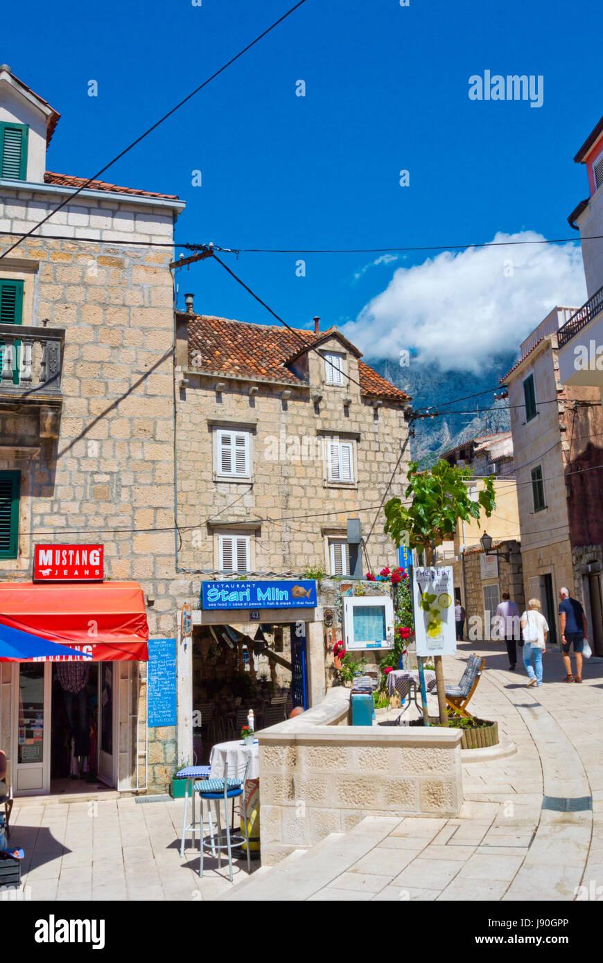 Stari Mlin restaurant and shops, Kalalarga, Kala Larga, Siroka ulice, Makarska, Dalmatia, Croatia Stock Photo