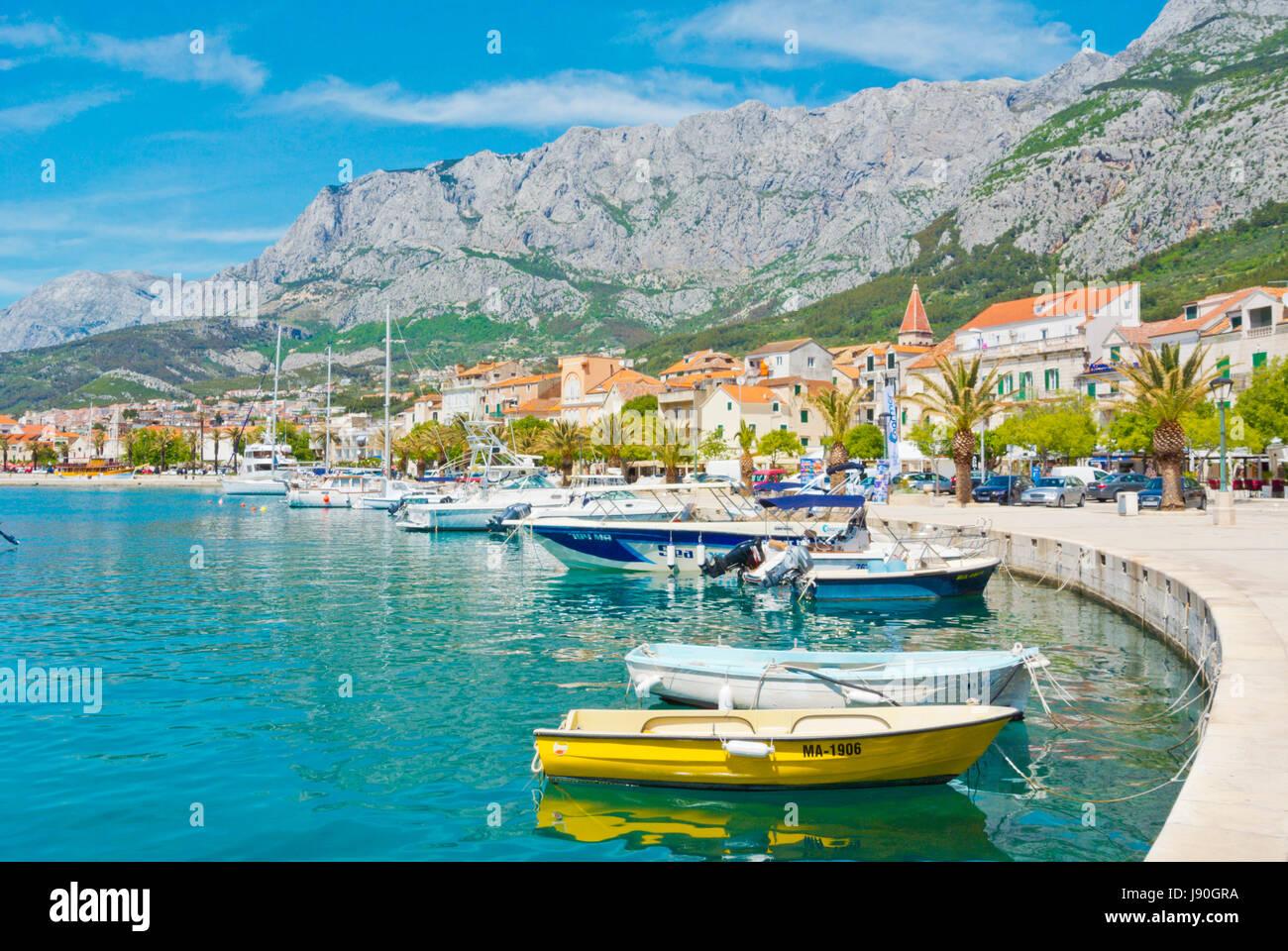 Marineta, seaside promenade, Makarska, Dalmatia, Croatia - Stock Image