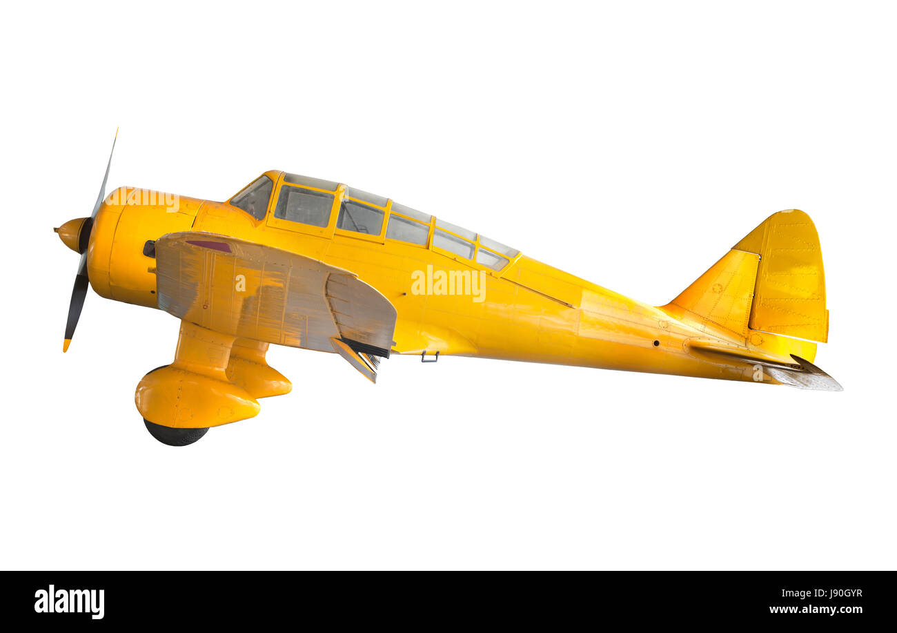 old classic yellow plane isolated white background - Stock Image