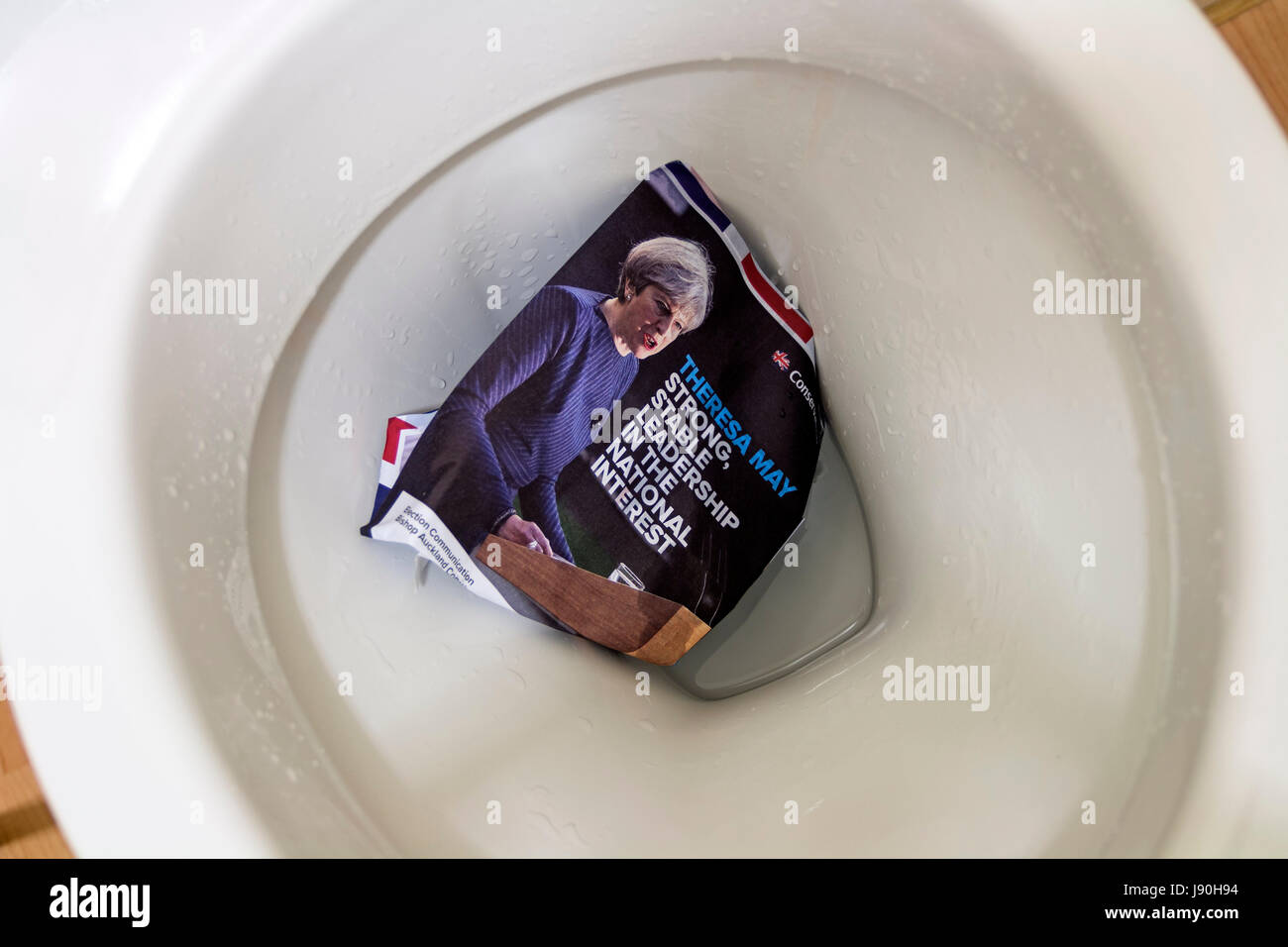 Conservative Election Leaflet in Toilet - Stock Image