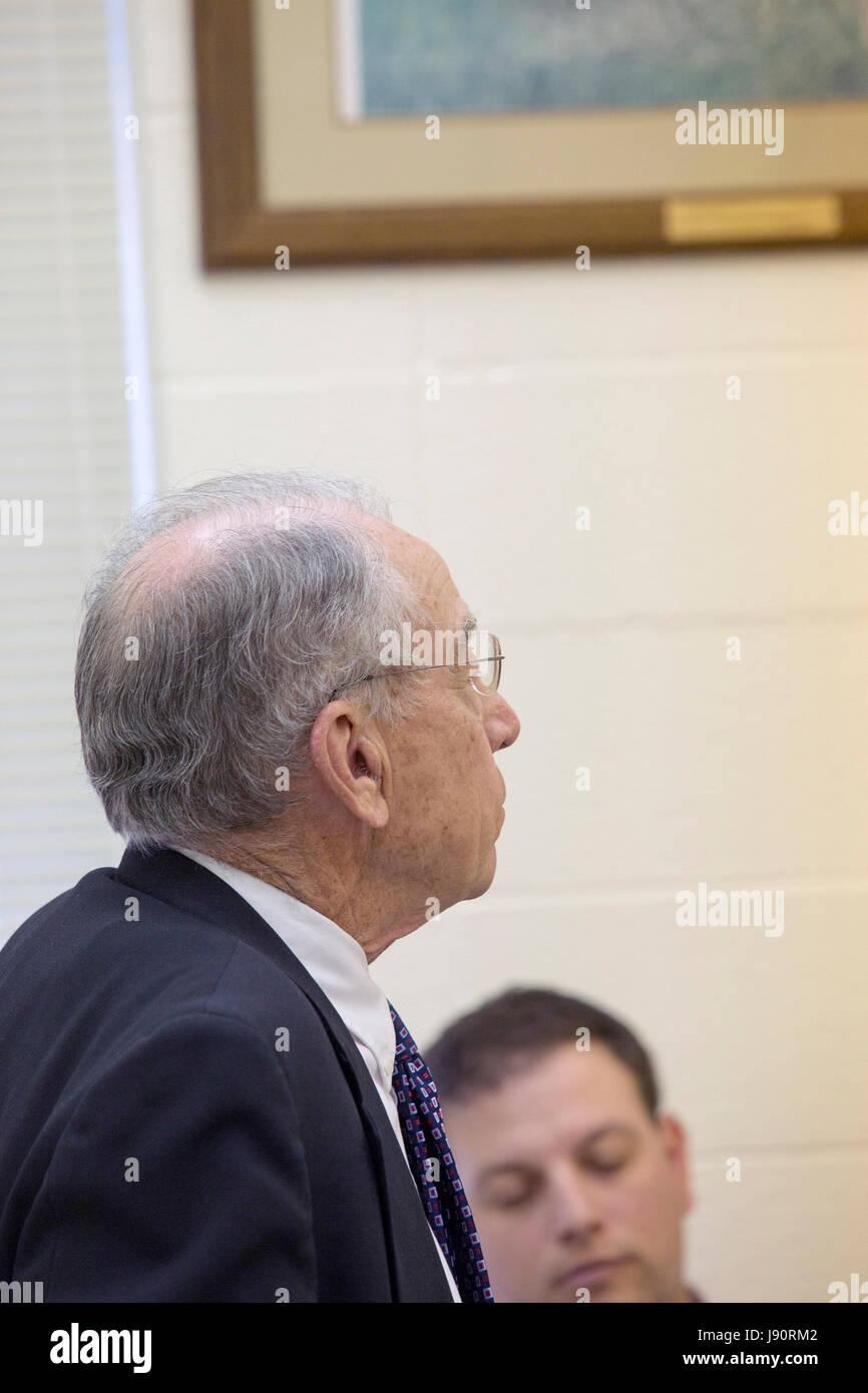 Guthrie City, Iowa, USA, 30th May 2017. Iowa Senator and Judiciary Committee Chair of the US Senate Charles Grassley - Stock Image