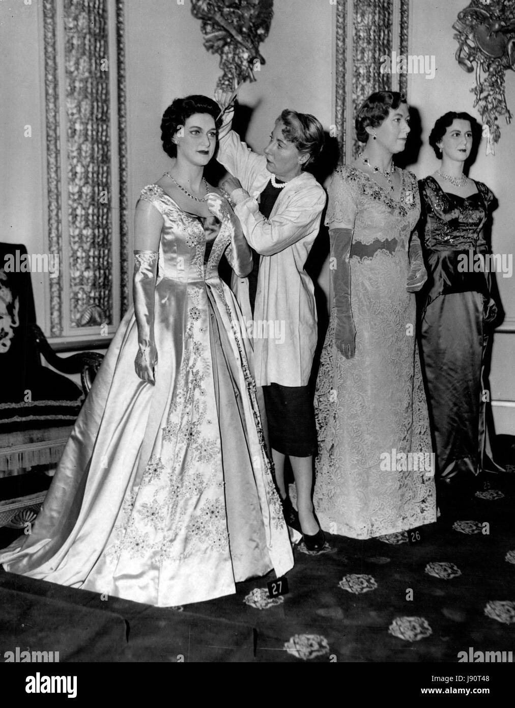 Mar. 03, 1956 - new Royal Models at Tussaud's: New models of the Queen. Princess Margaret and Princess Royal, were Stock Photo
